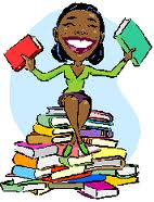 happy black woman with books cartoon