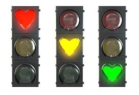 stoplights in heart shape