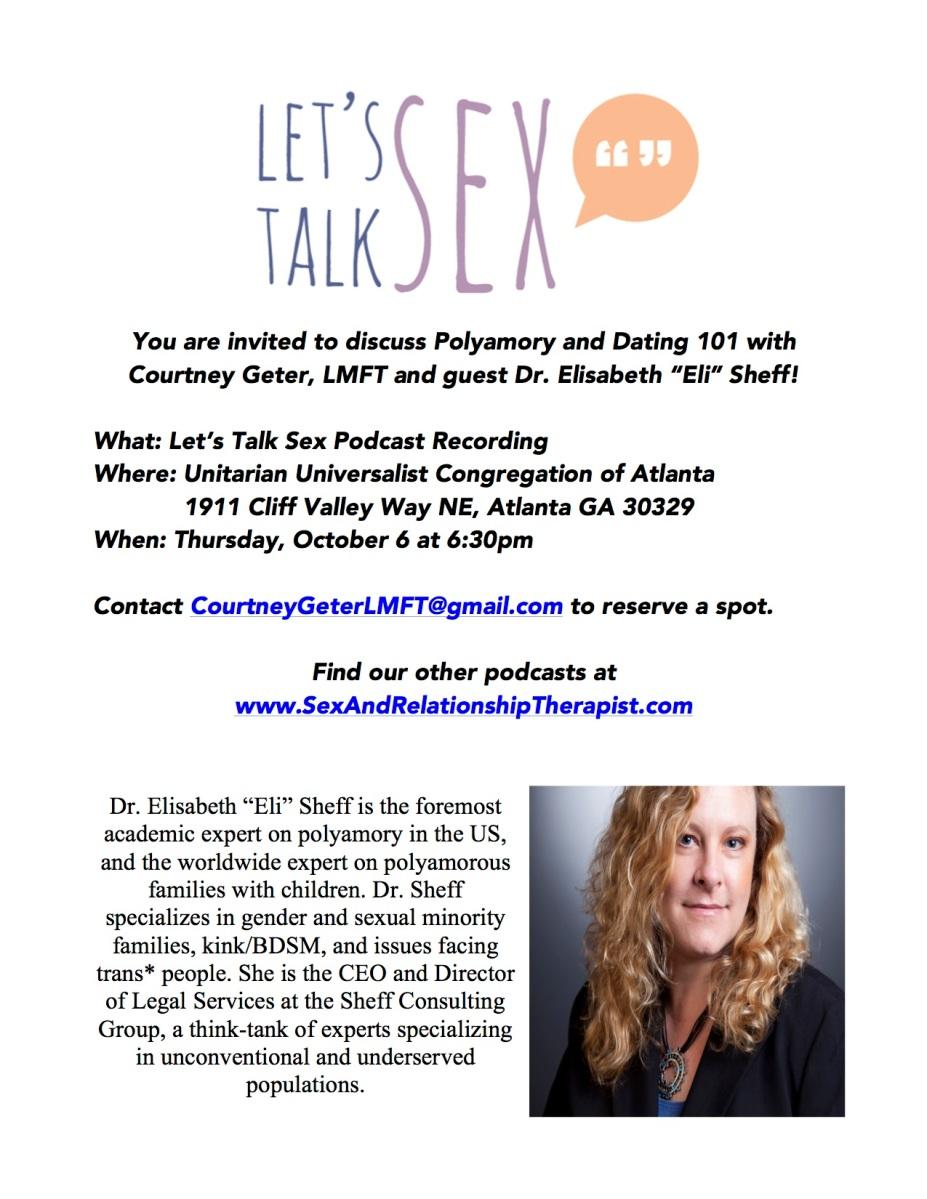 Live Recording Podcast Let's Talk About Sex with Dr. Eli Sheff, Atlanta,  10/6/16 – Elisabeth Sheff