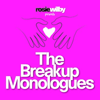 The words The Breakup Monologues  written in large white letters against a backdrop of purplish pink with two hands above forming a heart shape and a white heart shape between the hands.